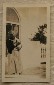 Vintage Photo*Woman holding Pit Bull Puppy*1930s*sepia*dog*snapshot