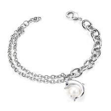 morellato bracciale donna gioiello delfino acciaio cristalli perla animali skp14