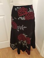 ladies MONSOON black a line skirt size 12 embroidered floral red