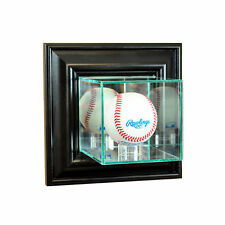 WALL MOUNT GLASS MLB BASEBALL DISPLAY CASE UV PROTECTION BLACK WOOD
