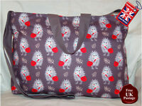 Hedgehog Zip Top Tote Bag, Handmade Hedgehog Bag, Choose Your Colour
