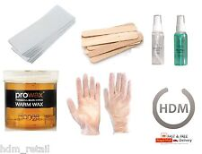 PRO WAX KIT,  WARM WAX,  PAPER WAX STRIPS, WAXING SPATULAS, DISPOSABLE GLOVES