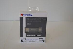 NIB 64 GB Verbatim Store n Go USB 3.0 Drive Lightning Apple Storage iPhone iPad
