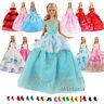 Miunana 5 Moda  Matrimonio Abiti Vestiti + 10 PCS Scarpe Per Barbie Dolls