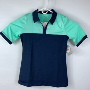 Reebok Womens Iris Slim Polo Shirt Blue Color Block Short Sleeve Stretch XS New
