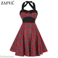 New Rockabilly Ladies 50s Retro Vintage Checked Cotton Swing Pin Up Party Dress