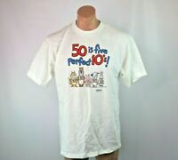 50 is five perfect 10's birthday 50th VTG 90s SHOEBOX funny Sz L T-Shirt NWOT