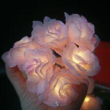 Unique Handmade Silk Pink Rose Diy Led String Decoration Flower Lighting Houses