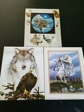 """3- 8"""" X 10"""" Wolf & Animal Collages Picture Prints in Lithograph by Dealer"""