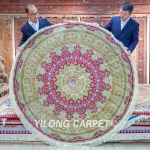 Yilong 6'x6' Purple Circular Silk Area Rugs Round Carpets Hand Knotted 222A