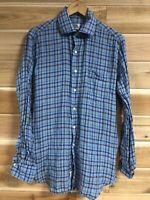 Peter Millar Linen Shirt Long Sleeve Button Down Mens Size Medium Plaid Shirt