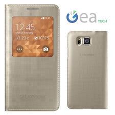 Custodia S View Cover Originale per Samsung Galaxy Alpha SM-G850F Finestra GOLD