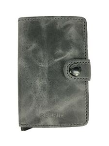 SECRID Miniwallet Vintage Grey / Black Leather Wallet RFID Blocking Gift Xmas