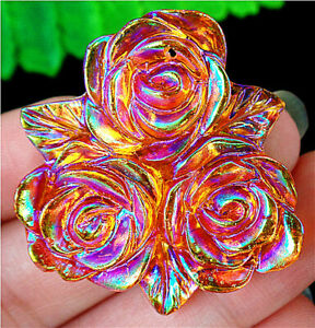 34x6mm Orange Acrylic Carved Flower Pendant Bead AP72487