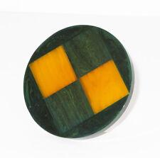 Vintage Bakelite Pin Brooch rare green yellow checkerboard carved design
