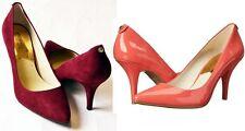 Michael Kors MK Flex Mid Pump High Heel Merlot Burgundy Suede / Watermelon Pink