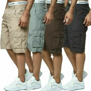 Herren Shorts Bermuda Cargo Pants Vintage Casual Sommer Capri Kurze Hose