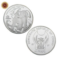 WR Congo Republic 10 Francs Endangered Wildlife Elephant 999 Silver Coin Round