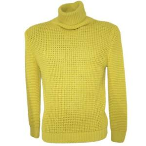 Maglione dolcevita uomo color senape slim fit ad intessitura larga linea basic s