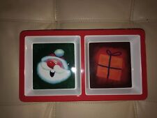 Lot of 22 Melamine Christmas Snack Trays Santa and Gift 2 Compartments