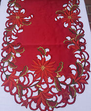 """16x36""""Embroidered ChristmasTablecloth Red Poinsettia Table Runner Home Decor"""