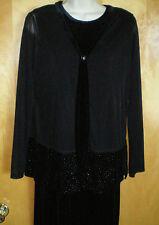NWT NEW womens ladies size S 4/6 black long velour sleeveless dress sheer jacket