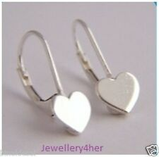 925 Sterling Silver Small Open Heart Lever Back Continental Wire Earrings GIFT