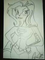 Super Girl 4x6 Sketch By Actor Aaron Lee Johnson signed. Benefits charity.