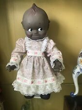 "Vintage 16"" Kewpie Cameo Black Rubber Squeaker Tummy Doll 11-7-1967 Precious"