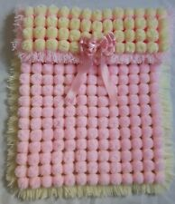 BABY PINK & LEMON POM POM TURNOVER BABY GIRL BLANKET WITH REMOVABLE SATIN BOW