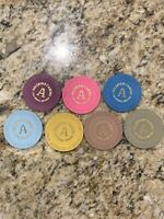 "7 Chip Lot Wildfire Las Vegas ""Slots Only"" Casino Roulette Table A Chip Set"