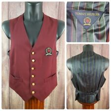Tommy Hilfiger | Men's Small | Waistcoat Suit Vest | Maroon Gold Button Striped