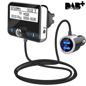 DAB Plus Bluetooth 4.2 Stereo Digital Car Radio Receiver FM Transmitter Dual USB