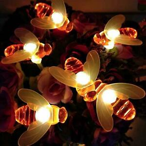 Solar Power Bee LED String Light Garden Path Yard Lamp Decor Outdoor Waterproof