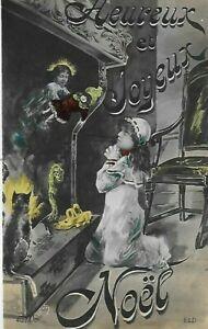 Belle CPA carte postale ancienne Joyeux  Noël fillette cheminée poupée chat