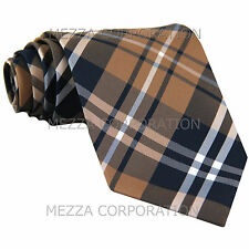 New Men's Vesuvio Napoli plaid checkered Neck Tie Necktie only Wedding Brown
