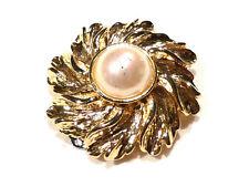Bijou alliage doré pince à foulard perle brooch