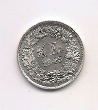 1948 Switzerland Silver 1/2 Franc-- Prooflike Surfaces !!