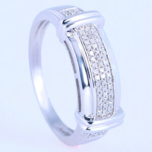 THE BEST! 10K WHITE GOLD ROUND CUT 8.2MM PAVE DIAMOND WEDDING BAND RING SIZE 10
