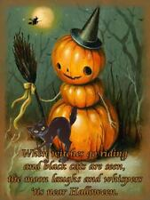 Little Pumpkin Jack-O-Lantern Witch  with Black Cat Halloween Metal Sign