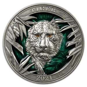 2021 Barbados 3 Ounce Colors of Wildlife Tiger High Relief Enamel Silver Coin