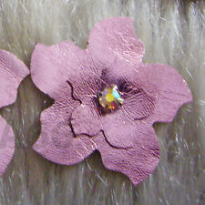 Handmade DIY Faux Leather Flowers 8 Metallic Lt Rose Iron On Hot Fix Applique