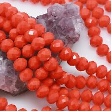 Lot of 5 Std 36 pcs 10mm Chinese Glass Beads Faceted Rondelle Orange Red Opaque