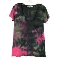 Pam & Gela Tie Dye T Shirt womens XS Pink Gray Pocket Tee Short Sleeve Cotton