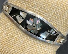 Vtg Solid 925 Sterling Flower abalone inlay Cuff Bangle  Bracelet  Ladies Gift