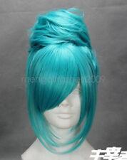 Short Vocaloid-miku Light Blue Anime Cosplay Wig  Green bun high-temperature