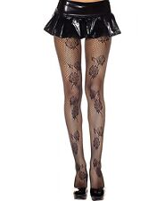 Women designer Sexy Black  Rose Pattern Net Tights by Music Legs 202