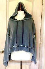 Free People Sweatshirt Hood Crop Hi Lo Oversized Raw Edge Blue Gray XS NEW