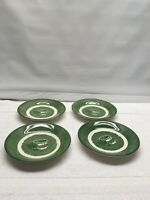 Vintage Colonial Homestead by Royal USA Set of  4  Saucers Plates Green