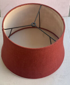 Drum Lamp Shade Orang/Rust Color 12in Round And 10 In Height. Tweed Like Fabric